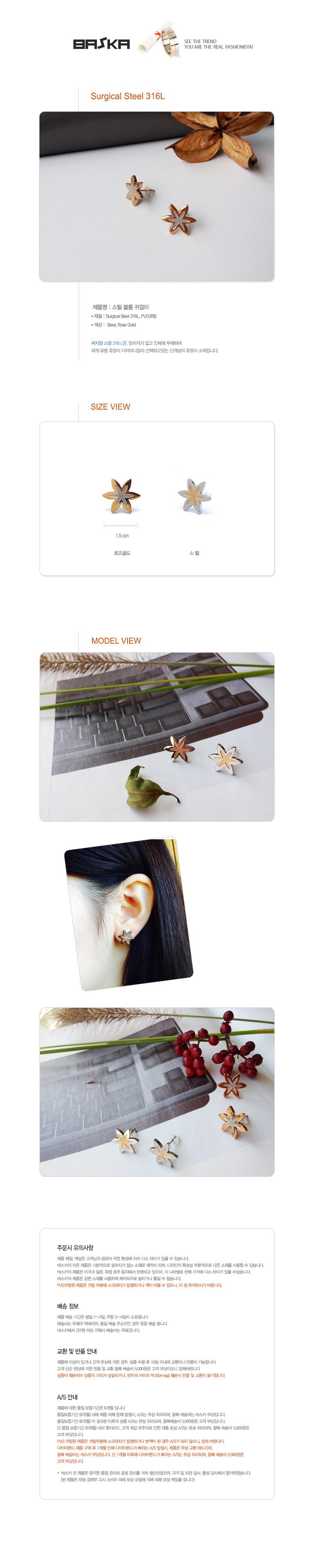 바스카 스틸 블룸 귀걸이 - 바스카, 23,000원, 주얼리 DIY, 귀걸이